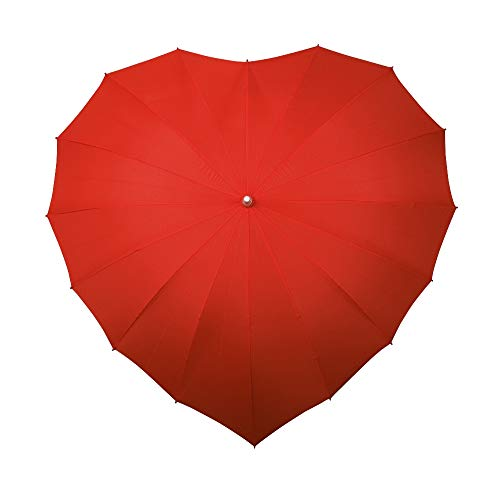 VON LILIENFELD Regenschirm Herzschirm Damen Sonnenschirm Brautschirm Hochzeitsschirm Herz rot