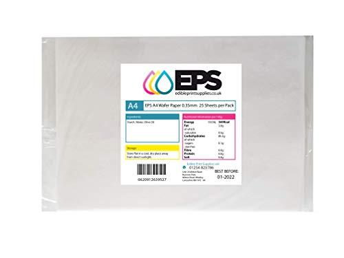 25 láminas comestibles de papel EPS A4, blanco