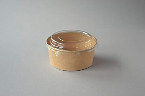 300 Stück Bio Salatschalen mit Deckel (25 OZ), 750 ml (kraft, bedruckt mit Motiv GO GREEN) Salatbox Paper Bowl Salat to go Schale Salat-Bowl Hartpapier Schale Salatbecher Kartonschale
