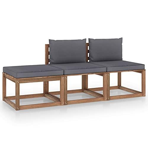 Susany Muebles de Palets Jardín con Cojines 3 pzas Conjunto de Sofás de Madera Juego de Muebles para Jardín Madera Pino Impregnado Gris Antracita 60 x 64 x 70 cm