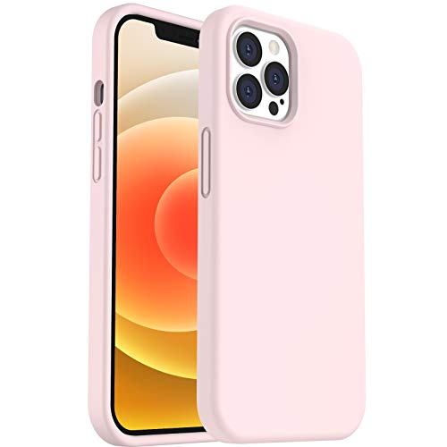 """ORNARTO Funda para iPhone 12 Pro MAX 6,7"""" de Silicona Líquida Reforzada, Protección de Cuerpo Completo de Goma Antichoque Bumper de Protección Case para iPhone 12 Pro MAX(2020) 6,7 Rosa"""