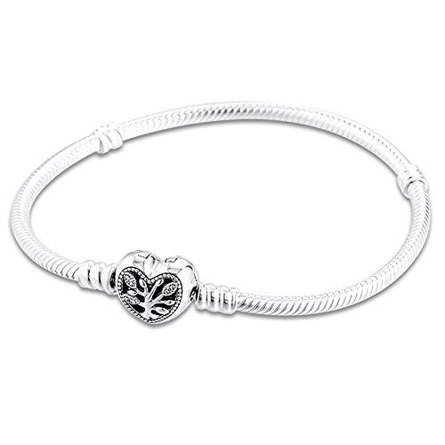 PANDOCCI 2020 Mother Day Gift Family Heart Snake Chain Bracelet for Women 925 Silver DIY Fits for Original Pandora Bracelets Charm Fashion Jewelry (18CM)