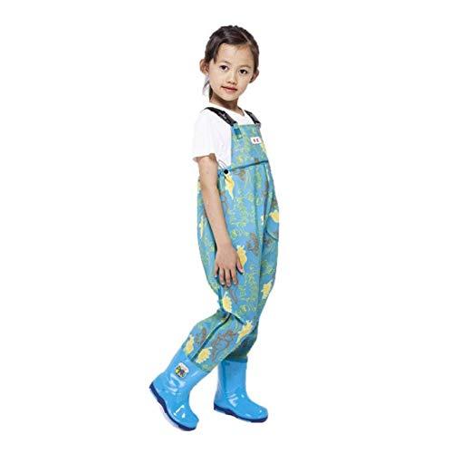 DIVAND Kinder Outdoor Wathose wasserdichte Nylon/PVC Jugend Waders mit Gummi Stiefeln Angeln & Jagen Waders für Kleinkinder und Kinder, Jungen und Mädchen, Alter 2-13,Grün,33