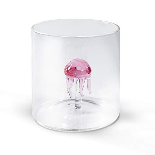 Bicchiere JELLYFISH Bicchiere in vetro borosilicato con medusa in vetro colorato all'interno. Capacità: 250 ml. Misure: Ø 8 x h8