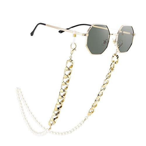 Bohend Moda Cadena de gafas de sol Oro Perlas Cadena de mascarilla Mujer Cadena de anteojos Accesorios para gafas por Anteojos y mascarillas