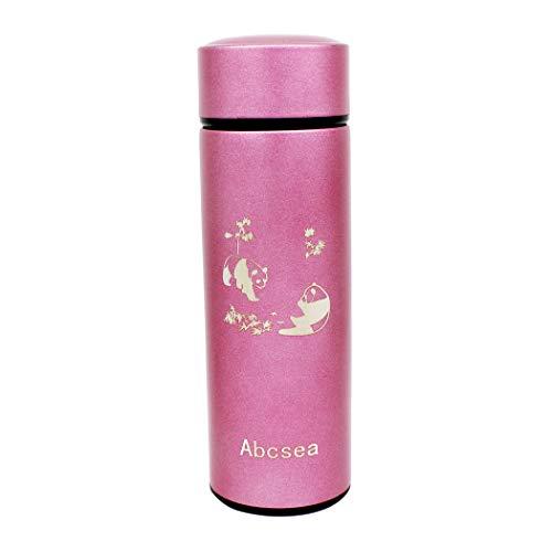 Abcsea 1 Pieza Botella de Acero Inoxidable, Termo para Bebidas Frias y Calientes, Botella Térmica, Taza Térmica de Viaje, Frasco de Vacío de Acero Inoxidable, Rosado