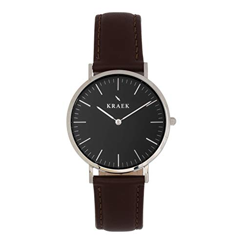 KRAEK Chloë Silver 36 mm – Esfera negra – Reloj de mujer – Correa de piel marrón – Diseño redondo fortalecimiento de las mujeres en Asia – Mecanismo de calidad