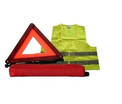 Kit Triangle de pré-signalisation norme E27R + Gilet de sécurité nome CE