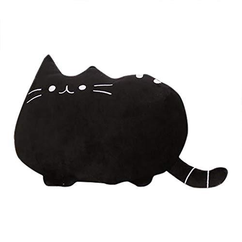 DOLDOA Haushalt Wohnen,Cartoon-Katzen-Kissen-Rückseiten-Kissen-kurzes Plüsch-Haar-niedliches Kissen (Schwarz)