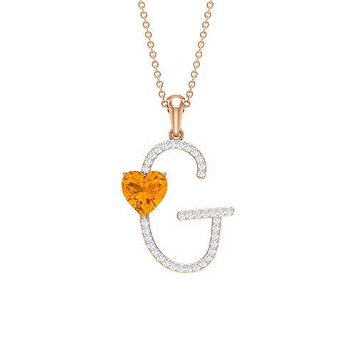 Rosec Jewels 14 quilates oro rosa corazón Round Brilliant Orange Zafiro naranja creado en laboratorio Moissanite