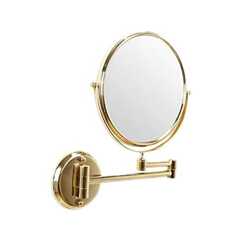 Zjcpow-HO Espejo de maquillaje LED espejo de maquillaje con 3 espejos de aumento, espejos cosméticos con rotación de 360 ° base de ventosa (tamaño 8 pulgadas) (color: dorado, tamaño: 8 pulgadas)