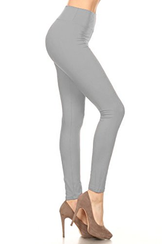 Leggings Mania Women's Plus Solid Leggings with Wide Yoga Waistband Grey