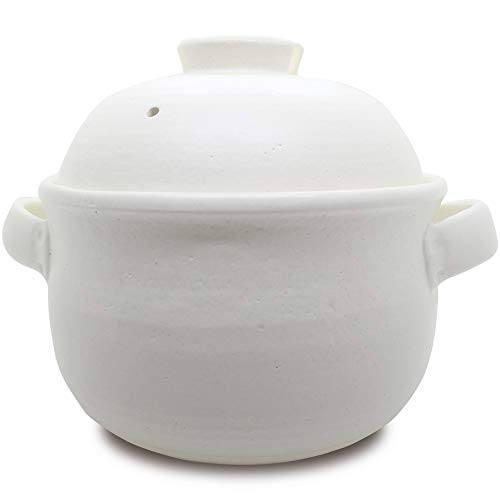"""【 日本製 うれし炊き 3合 】 i-WANO ご飯釜 """"おいしい""""の基準が変わる 絶品ご飯をご家庭で 直火 内ぶたと外ぶたの二重構造で圧力をかけるからふきこぼれを防止 本体は割れにくく炊きムラを少なくした新仕様 [職人さんが窯元で一個一個丁寧に手作りしています] お米が立つ 料亭で出されるご飯をご家庭で 超耐熱性 レンジ可 オーブン可 食洗機可 MADE IN JAPAN (白(ホワイト))"""