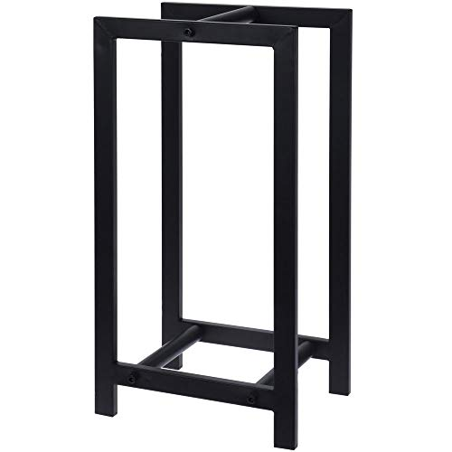 Home @ Styling Collection - Soporte de Madera para Chimenea, Ajustable, Metal, 62 x 30 x 34 cm, Color Negro