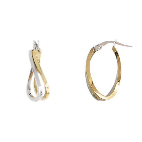 L'Atelier d'Azur - Orecchini ad anello, da donna, in oro bianco e giallo