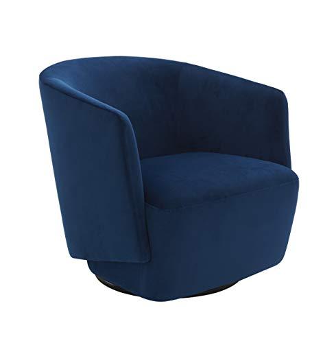 Amazon Brand - Rivet Coen Modern Velvet Upholstered Accent Swivel Chair, 30'W, Ink Blue