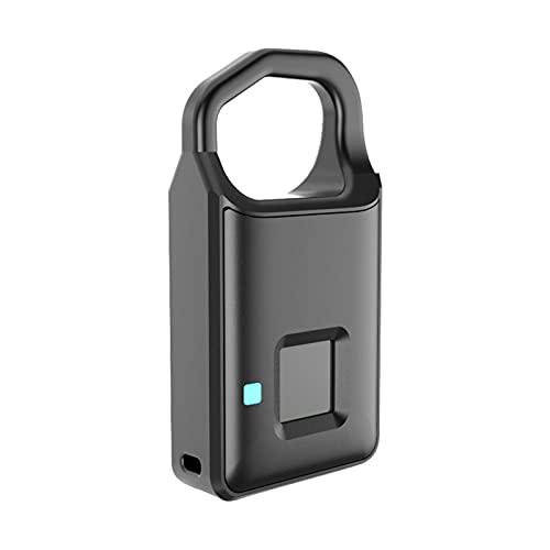 LAIDEPA Candado Biométrico De Huellas Dactilares, con Cerradura Inteligente De Huellas Dactilares Recargable por USB para Casillero De Gimnasio Escolar, Mochila, Maleta, Equipaje,Negro