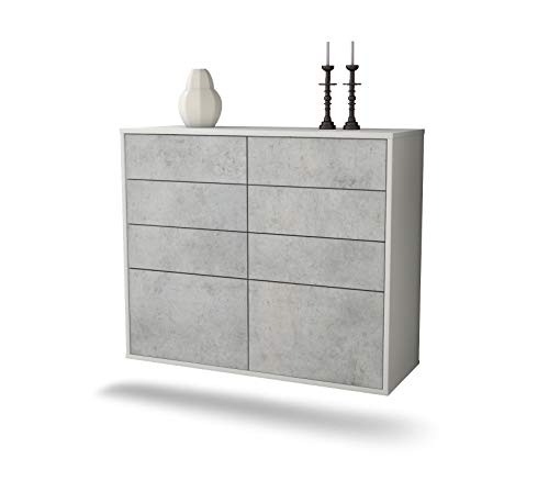 Dressoir van de Moines hangend (92 x 77 x 35 cm) corpus wit mat | front beton look | Push-to-Open