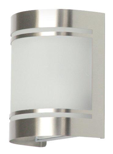 Smartwares Alicante Wandleuchte – Außenleuchte, Edelstahl, ohne Bewegungsmelder, E27-Sockel, IP44, 5000.298