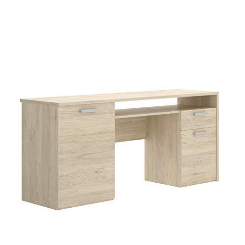 Mobelcenter - Mesa Escritorio Rek con 2 Puertas, 1 Cajón y 1 Hueco - Mesa de Oficina con Acabado en Color Natural - Medidas: Ancho: 115 cm x Fondo: 50 cm x Alto: 74 cm - (1211)