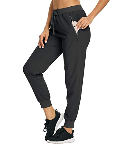 Women's Running Travel Pants Lightweight Fishing Quick Dry Water Resistant Trail Sports Work Walking UPF 50 UV Outdoor Sun Protection Track Elastic Waist Hiking Jogger with Zipper Pocket Black S