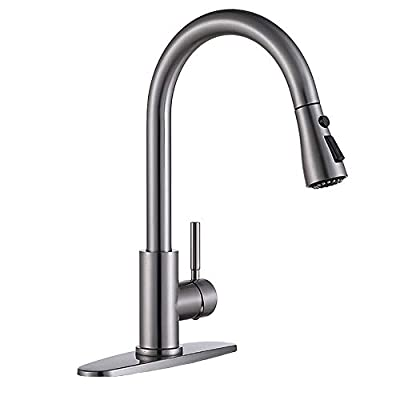 VESLA HOME Commercial Single Handle Pull Out Stainless Steel Brushed Nickel Kitchen Faucet, Kitchen Sink Faucets with Pull down Sprayer
