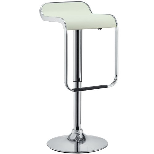 Modway LEM Mid-Century Modern Faux Leather Upholstered Adjustable Swivel Bar Stool in White