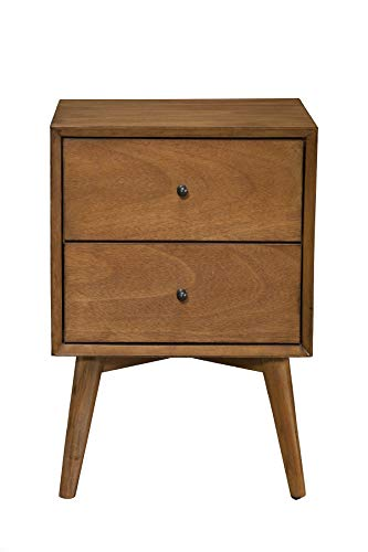 Alpine Furniture Flynn Mid Century Modern 2 Drawer Nightstand, 15' L x 18' W x 26' H, Acorn