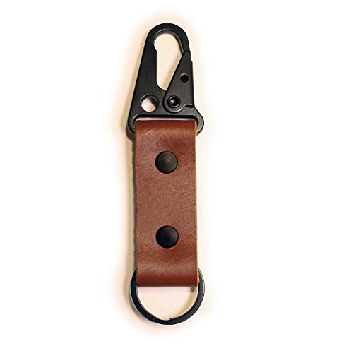 Leather Keychain Tactical HK Clip Fob - Full Grain Leather - Made in the USA (Brown)