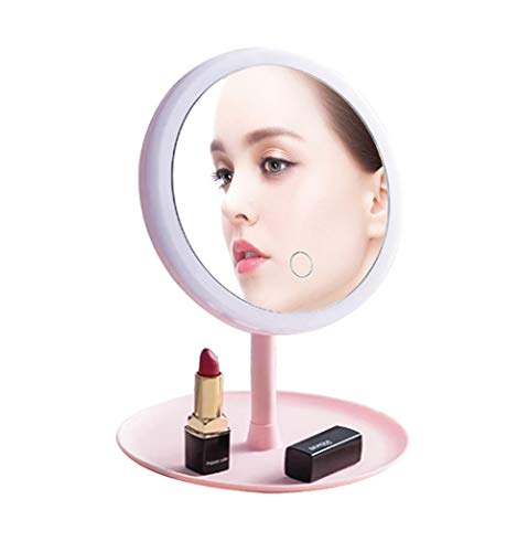 BLUECC Lighted Makeup Mirror Rechargeable,3 Levels of Light 90 Degree Swivel & Touch Screen Dimming, Detachable Portable Traveling Makeup Vanity Mirror with Lights Gift for Girl Best Friend