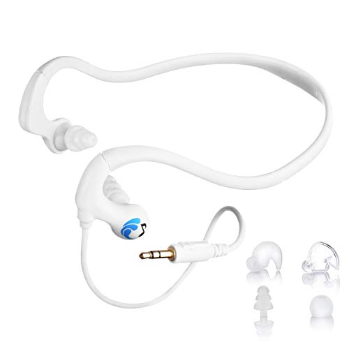 HydroActive Short-Cord Waterproof Headphones (Wired 3.5 mm Jack) with 11 Earbuds in 4 Styles