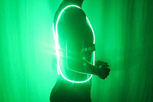 KAILUN Led Luz del Chaleco Iluminado Advertencia Carrera Nocturna Caminar Montar Chaleco Reflectante Cinco Colores con Pilas,Green