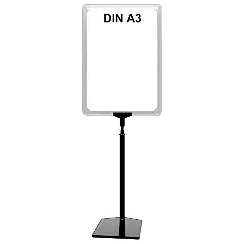 Plakatständer DIN A3 Rahmen transparent, Ständer Kunststoff schwarz, Teleskopständer mit Fuß eckig und Stahleinlage, Kundenstopper höhenverstellbar bis 68 cm, Aufsteller