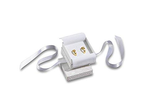Trauringetui Eheringe Box Hochwertige Trauringe Ring-Schachtel Ringbox für Hochzeit Valentinstag Verlobungsring Schlaufe Weiß Box 6