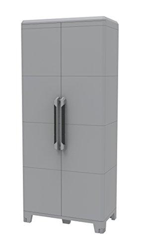 Terry 91628 Armadio Multifunzionale Alto, da Esterno Interno, Due Ante, resina, grigio, 78 x 43.6 x 184.4 cm