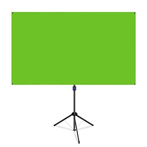 NAQIER クロマキースクリーン グリーン(回転可能 立っている) グリーンバック zoomでバーチャル背景布 80型 バックペーパー グリーン 1.83 ×1.06m 5.5kg軽量 2分で簡単組立 クリエーターやコンテンツの映像クオリティを手軽にアップ