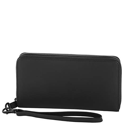 Klatta by Offermann Damen Portemonnaie aus hochwertigem Leder mit Handschlaufe und 16 Kartenfächern 19,5x10,5x3cm (schwarz)