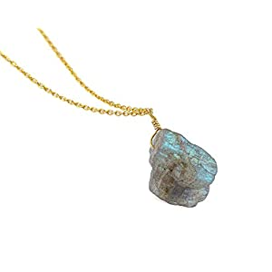 Raw Labradorite Gemstone Pendant 14k Gold Plated 925 Sterling Silver