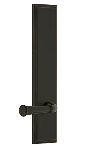 Grandeur 837919 Hardware Carre' Tall Plate Privacy with Georgetown Lever in Timeless Bronze, Backset Size-2.75