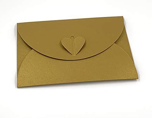 20 goldene Herz-Briefumschläge aus glitzerndem Pearl-Karton, C6 = 162 x 114 mm, z.B. für Einladungen zur Hochzeit, Verlobung, als Liebesbrief (Gold)