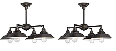 Four-Light Indoor Convertible Chandelier/Semi-Flush Ceiling Fixture, Oil Rubbed Bronze Finish with Highlights and Metal Shades (2 Pack)