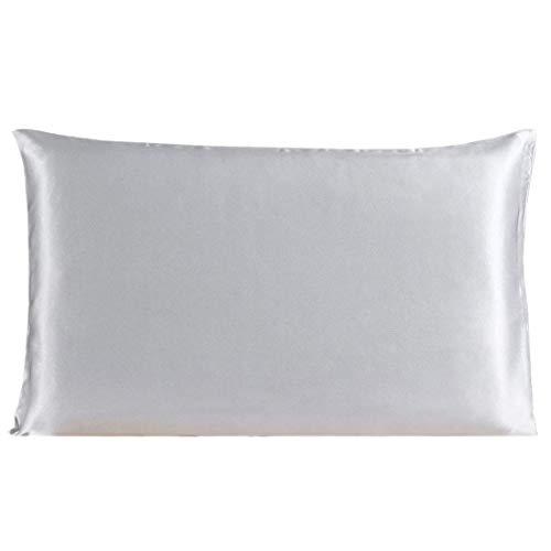 YeVhear - Funda de almohada de seda pura para el pelo y la piel, 350 TC, 19 Momme (1 unidad), color gris plateado