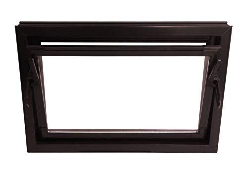 ACO 80cm Nebenraumfenster Kippfenster Einfachglas Fenster braun Kellerfenster, Größe:80 x 60 cm