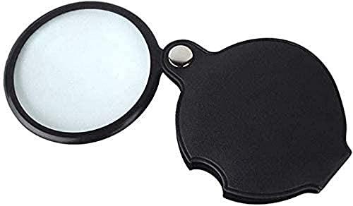 ZHAOJ Mini Lupa de Bolsillo 8X, con Carcasa de Cuero - Negro, fácil de Leer y Comprobar