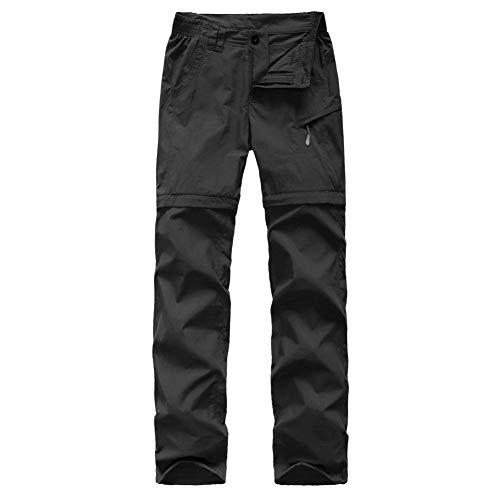 Flygaga Pantalon de randonnée pour femme avec ceinture à séchage rapide et respirant pour femme Noir Taille L 90 à 96 cm
