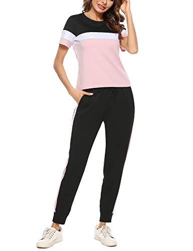 Irevial Conjunto Chandal Mujer Manga Corta, Algodón chándal Completo de Mujer Talla Grande,Casual Tops de Rayas y Pantalone 2 Piezas para Correr Fitness Jogging