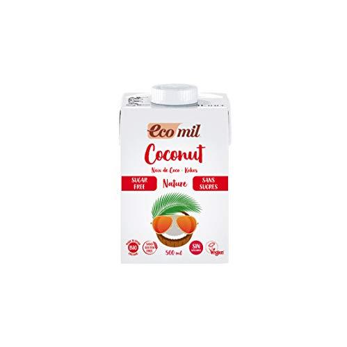 Ecomil Leche de coco sin azúcares Bio 500ml.Sin lactosa, sin gluten, sin azúcares, sin soja, sin huevo, sin azúcares añadidos, sin proteína láctea y con bajo contenido en sal