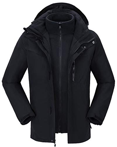 CAMELSPORTS Men's Mountain Ski Jacket 3 in 1 Waterproof Winter Jacket Warm Snow Jacket Hooded Rain Coat Windproof Winter Coat (Black-1, XL)