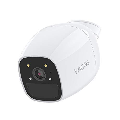 VACOS 1080p caméra Batterie Bullet Blanc sans Fil caméra de Surveillance coloré Full Vision Nocturne Rechargeable sécurité avec PIR détection de Mouvement