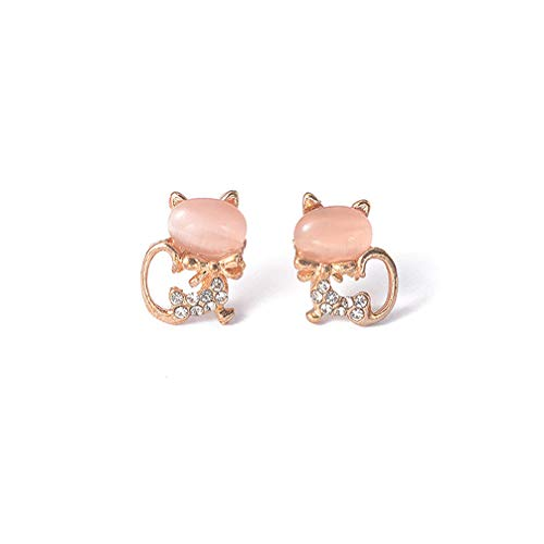 Toporchid Metalldekoration Doppel Katze Ohrringe Glanz Katzen Ohrringe Für Frauen (Pink)